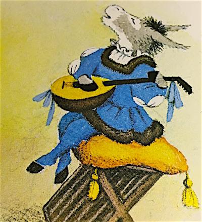 リュートの弾き歌いをするロバの王子